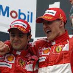 Felipe Massa & Michael Schumacher on the podium on Germany