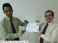 1st Prize Quiz -Prosun Saha 2014 -2015