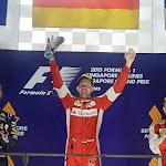 2015 Singapore podium: 1. Vettel, 2. Raikkonen, 3. Raikkonen