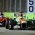 Paul di Resta (GBR) Sahara Force India VJM06 leads Fernando Alonso (ESP) Ferrari F138