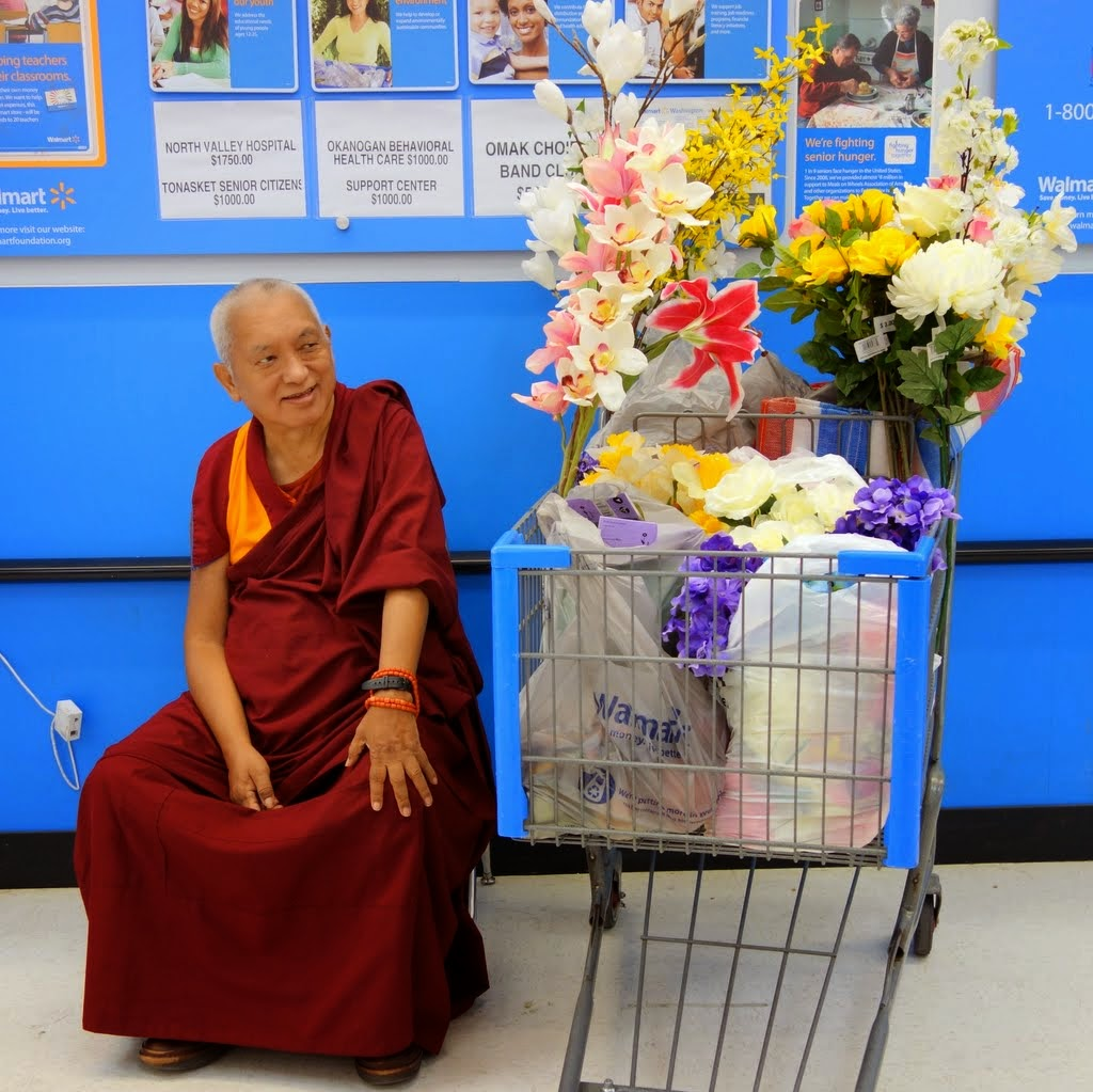 Lama Zopa Rinpoche with some of the flowers for offering, Omak, Washington, US, April 2014. Photo by Ven. Roger Kunsang.