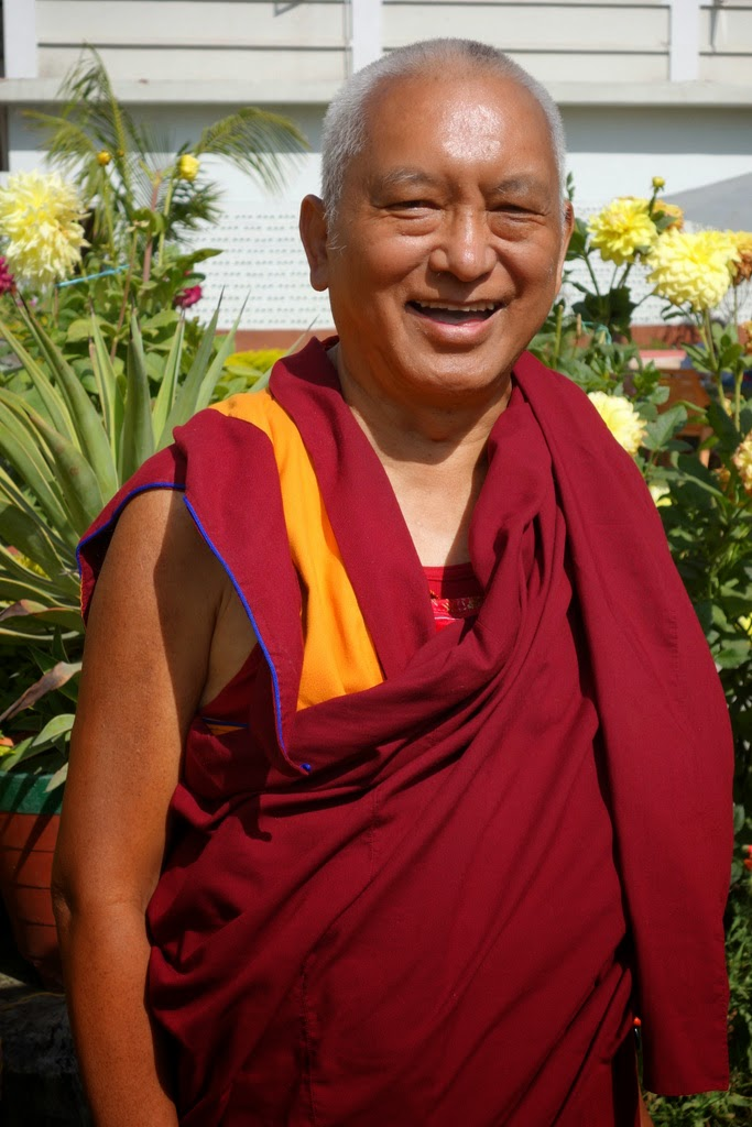 Lama Zopa Rinpoche upon arrival in Sarnath, India, March 2014. Photo by Ven. Roger Kunsang.