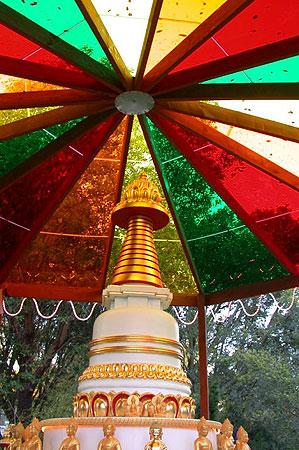 Kadampa Stupa and rainbow roof at Kachoe Dechen Ling, Aptos, CA, USA.