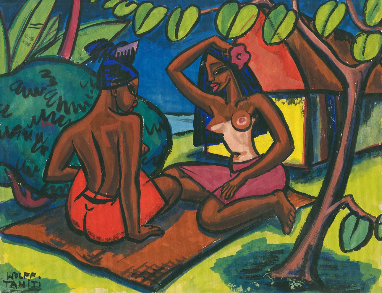 Vahine Tahiti, gouache on paper, no date, 10,5 x 13,5 inches