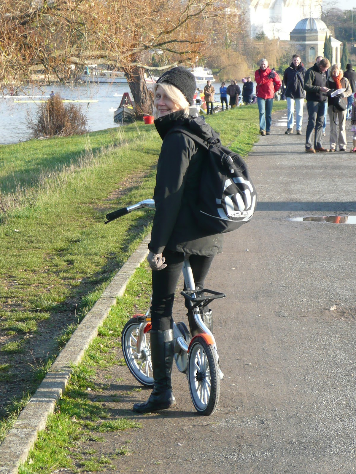 Lorette On her favourite Strida3 (used every day)