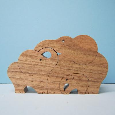 3 piece elephant puzzle