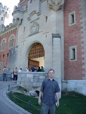 Outside the main entrance of Neuschwanstein Castle