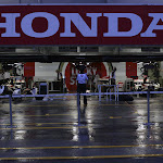 The Honda Racing pit garage at night