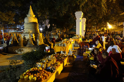 Lama Zopa Rinpoche offering 1,000 tsogs at Mahabodhi Stupa at night, Bodhgaya, India, February 2015. Photo by Ven. Roger Kunsang.