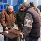 Gaming on the streets is very popular despite the chilly weather