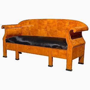 Антикварный диван из карельской берёзы. 19-й век. 15000 евро.