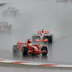 Very wet conditions at the Nurburgring with Felipe Massa in front