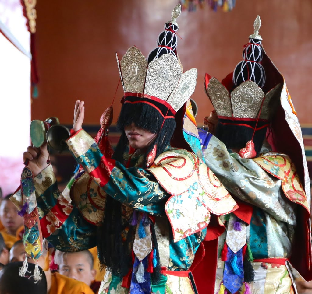 Dakini dancers at long life puja for Lama Zopa Rinpoche, Kopan Monastery, December 12, 2014. Photo by Ven. Thubten Kunsang.