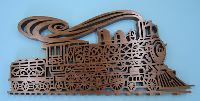 Steam Engine  16 1/2 x 8 3/4 Black Walnut  Classic Fretwork Scroll Saw Patterns Patrick Spielman James Reidle