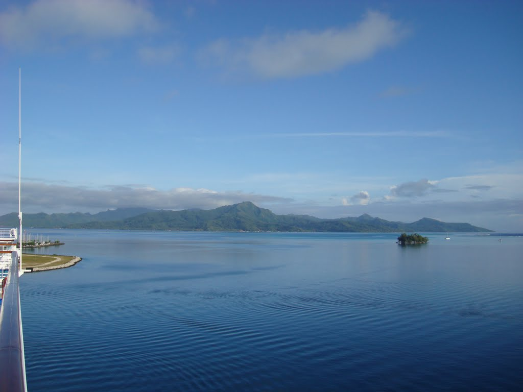 Early morning view of Tahaa in the distance