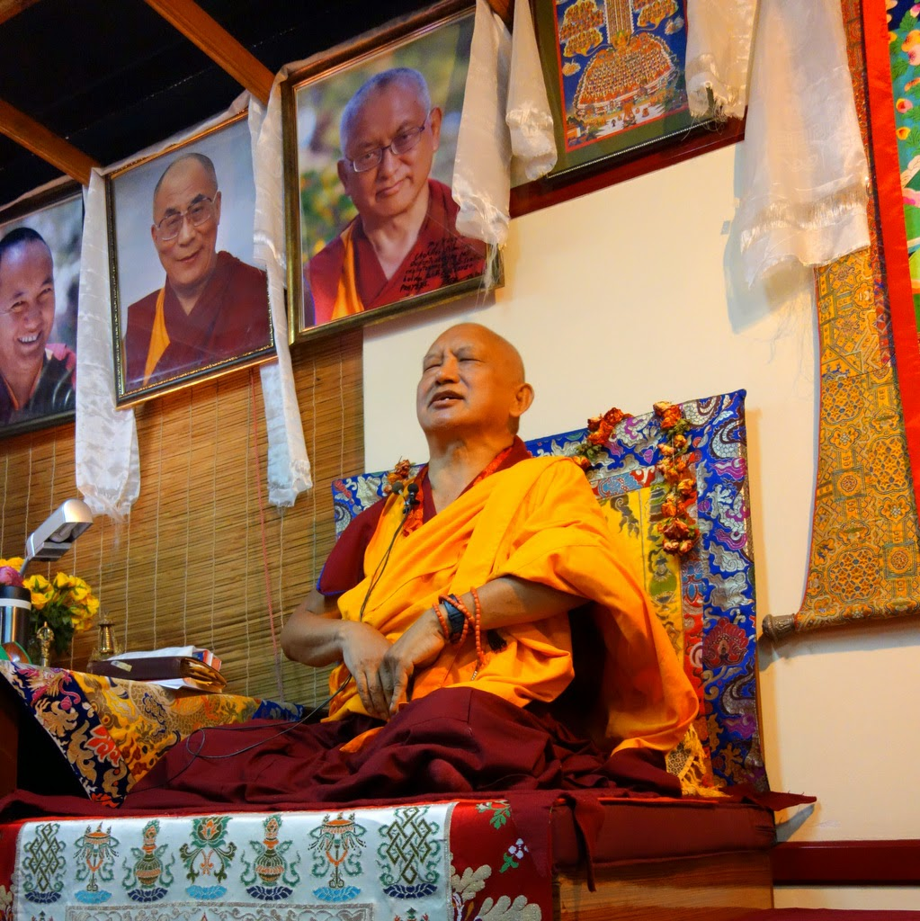 """Lama Zopa Rinpoche teaching at Choe Khor Sum Ling Study Group, Bangalore, India, March 2014. Photo by Ven. Roger Kunsang.Rinpochesaid:""""Dharmaprotectsyoufromsuffering....Happinessandsufferingcomefromthemind...soprotectyoumind...keepyourmindcontent...cultivatehappinessfromwithin!"""""""
