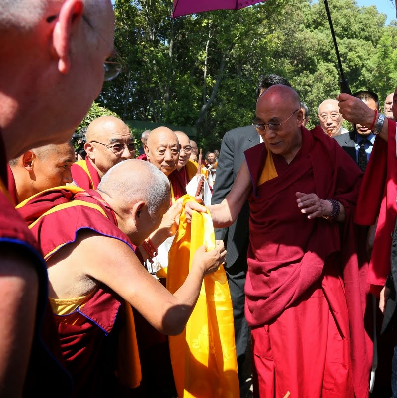 Lama Zopa Rinpoche offering His Holiness the Dalai Lama a khata, Istituto Lama Tzong Khapa, Pomaia, Italy, June 10 2014. Photo by Ven. Thubten Kunsang.