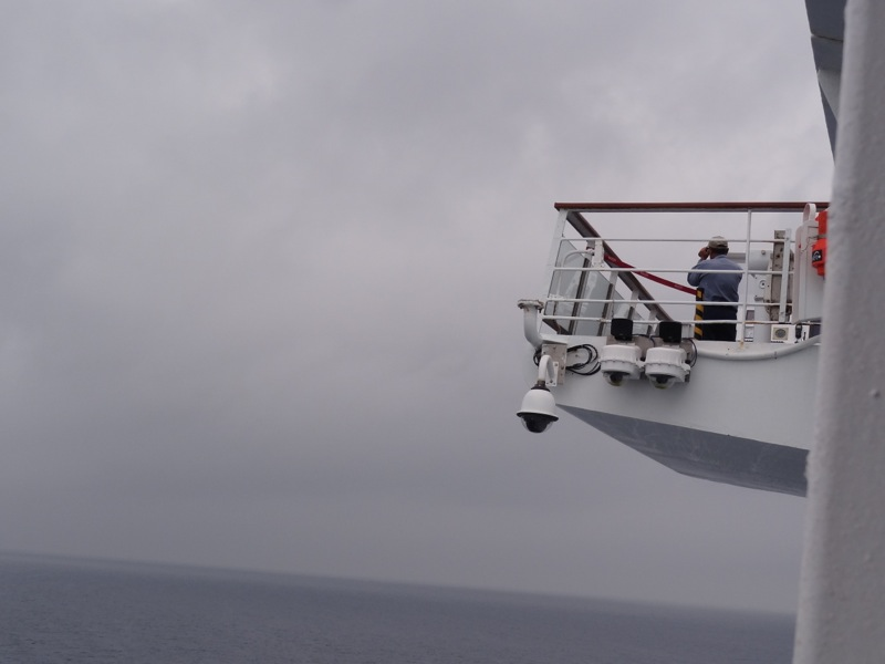 A passenger needed to be medivac'ed off the ship.....a crewman looking for helicopter