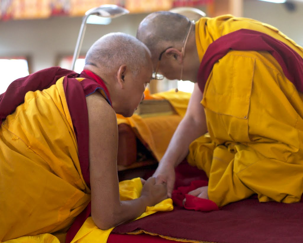 Lama Zopa Rinpoche with His Holiness the Dalai Lama, Gaden Monastery, India, December 2014. Photo by Bill Kane.