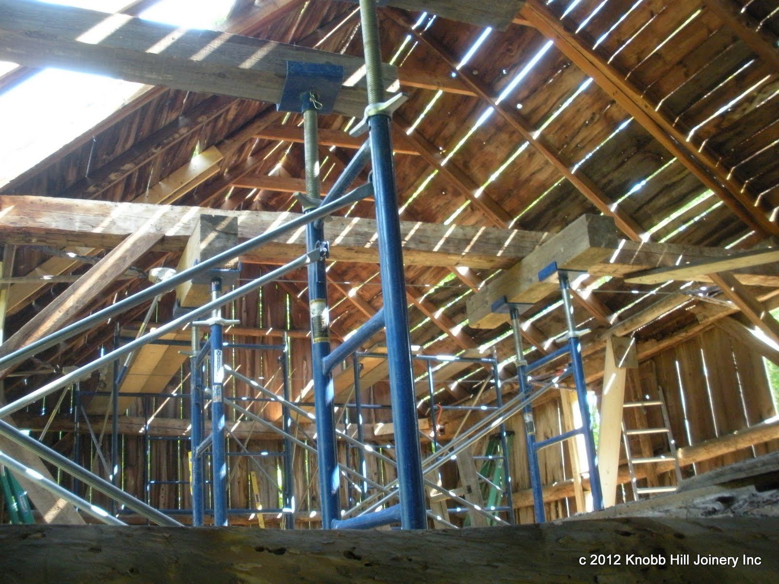 A lot of support to the damaged frame was required before dismantling and restoration could begin.