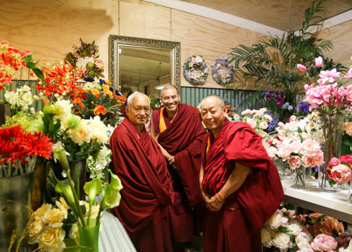 Lama Zopa Rinpoche with Geshe Wangchen and Geshe Tharchin at garden shop, New Zealand, May 2015. Photo by Ven. Thubten Kunsang.