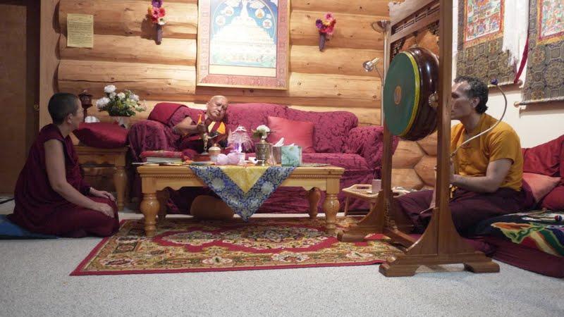 Doing prayers at Buddha Amitabha Pure Land with Yangsi Rinpoche