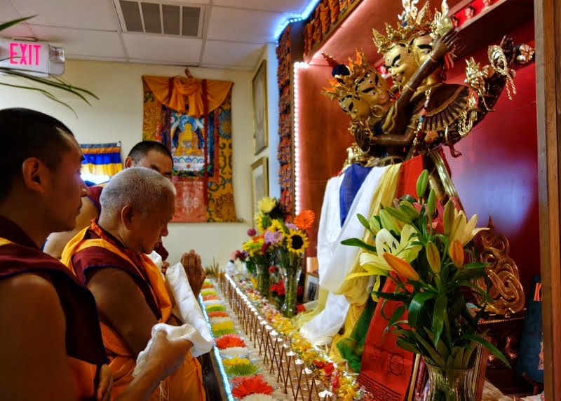 Lama Zopa Rinpoche at  Kadampa Center, Raleigh, North Carolina, US, May 3, 2014. Photo by Ven. Roger Kunsang.