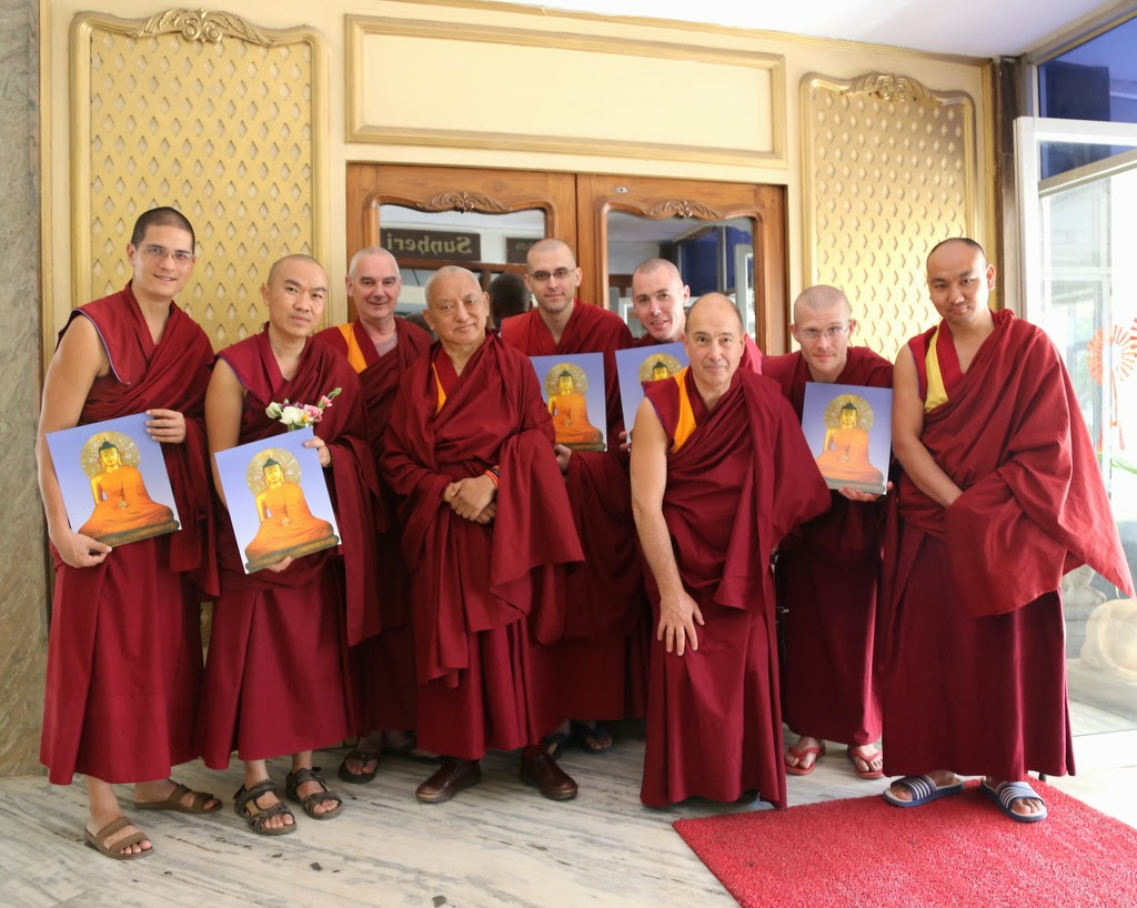 Lama Zopa Rinpoche with some of the IMI Sangha of Sera Je Monstery as well as members of Rinpoche's entourage, Bangalore, India, March 2014