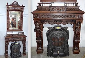 Антикварный каминный портал с зеркалом. 19-й век. 122/40/130 см. 6500 евро