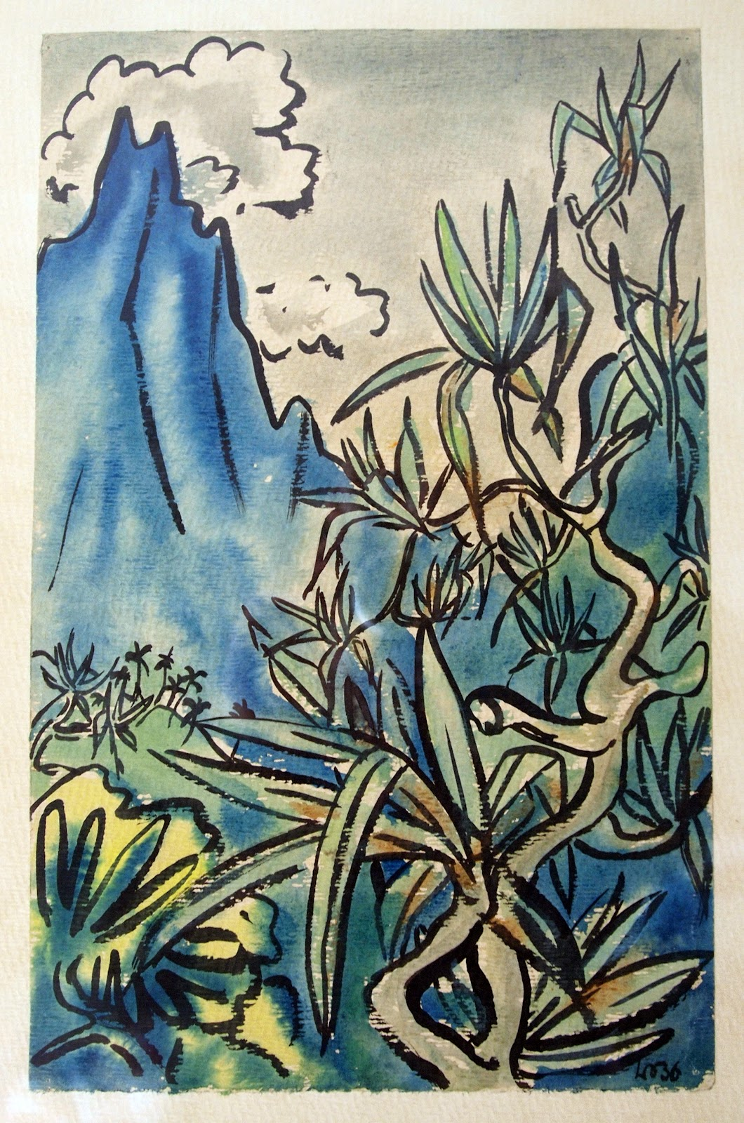Tahitian Mountainscape, watercolor, 1936, family-owned