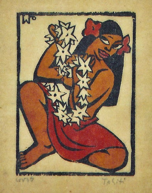 Flower girl, hand colored block print, 1947, family-owned