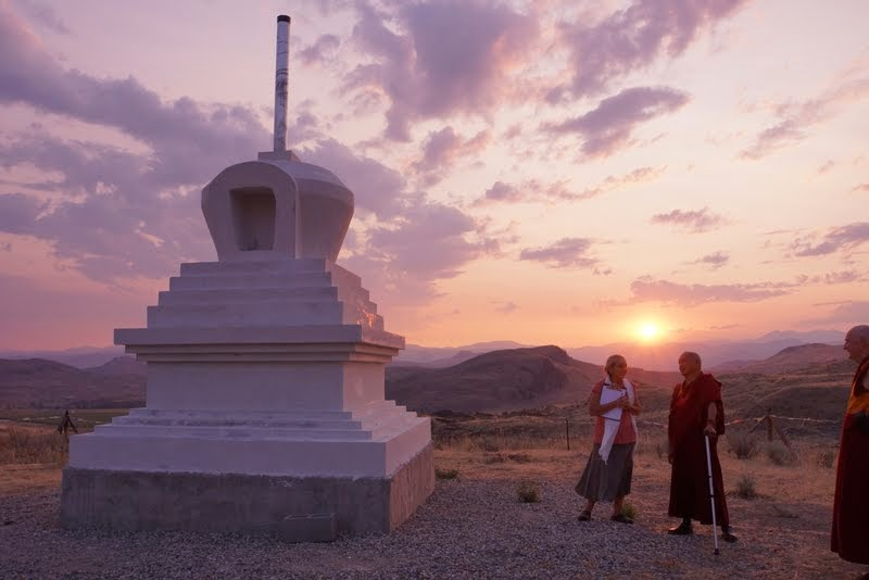 Lama Zopa Rinpoche with Su Ianiello visiting the new stupa being constructed by Pamtingpa Center near Tonasket, Washington, US, August 2014. Photo by Merry Colony.
