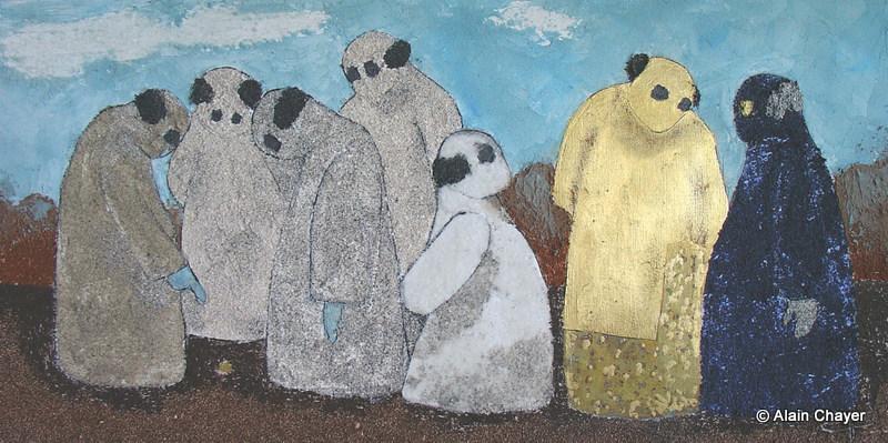 163 - Pépite - 2006 40 x 80 - Sable, acrylique et or sur toile