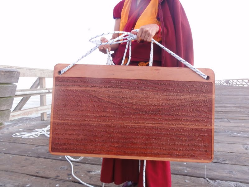 Mantra board used to bless sentient beings in the ocean