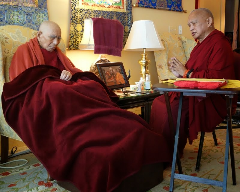 "Lama Zopa Rinpoche doing prayers with Geshe Sopa Rinopche, Deer Park Buddhist Center, Wisconsin, US, July 20, 2014. Photo by Ven. Roger Kunsang, who shared, ""Geshe-la is not talking anymore and always has his eyes closed."""