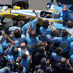Fernando Alonso, Renault R26 pulls into Parc Ferme at the end of the race