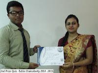2nd Prize Quiz -Tuhin Chakraborty 2014 -2015