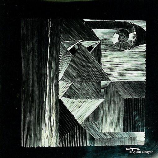 062 - Le Rêveur - 1994 50 x 50 - Gravure sur inox poli
