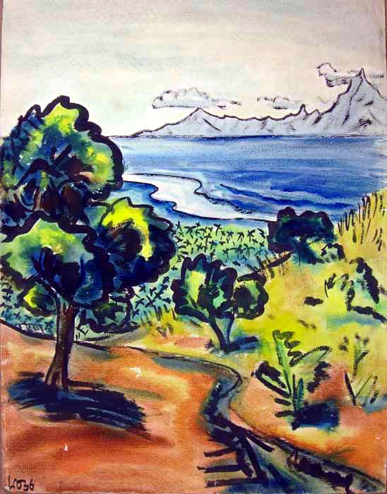 Island view, 1936, watercolor on paper, 26 x 19 inches
