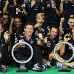 Red Bull Racing Team Celebrating their 2012 Singapore F1 victory