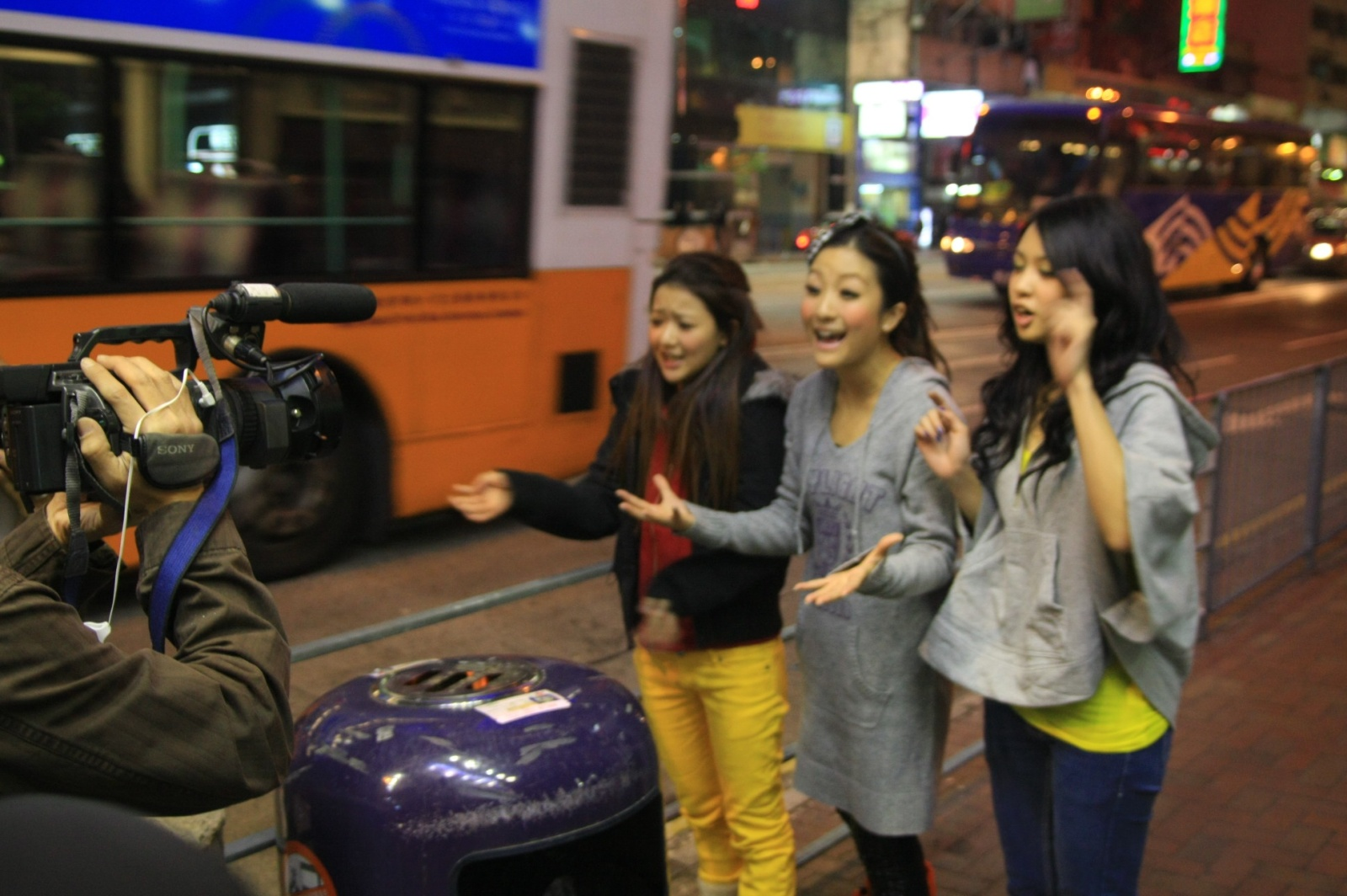 Interviewing the local chicks