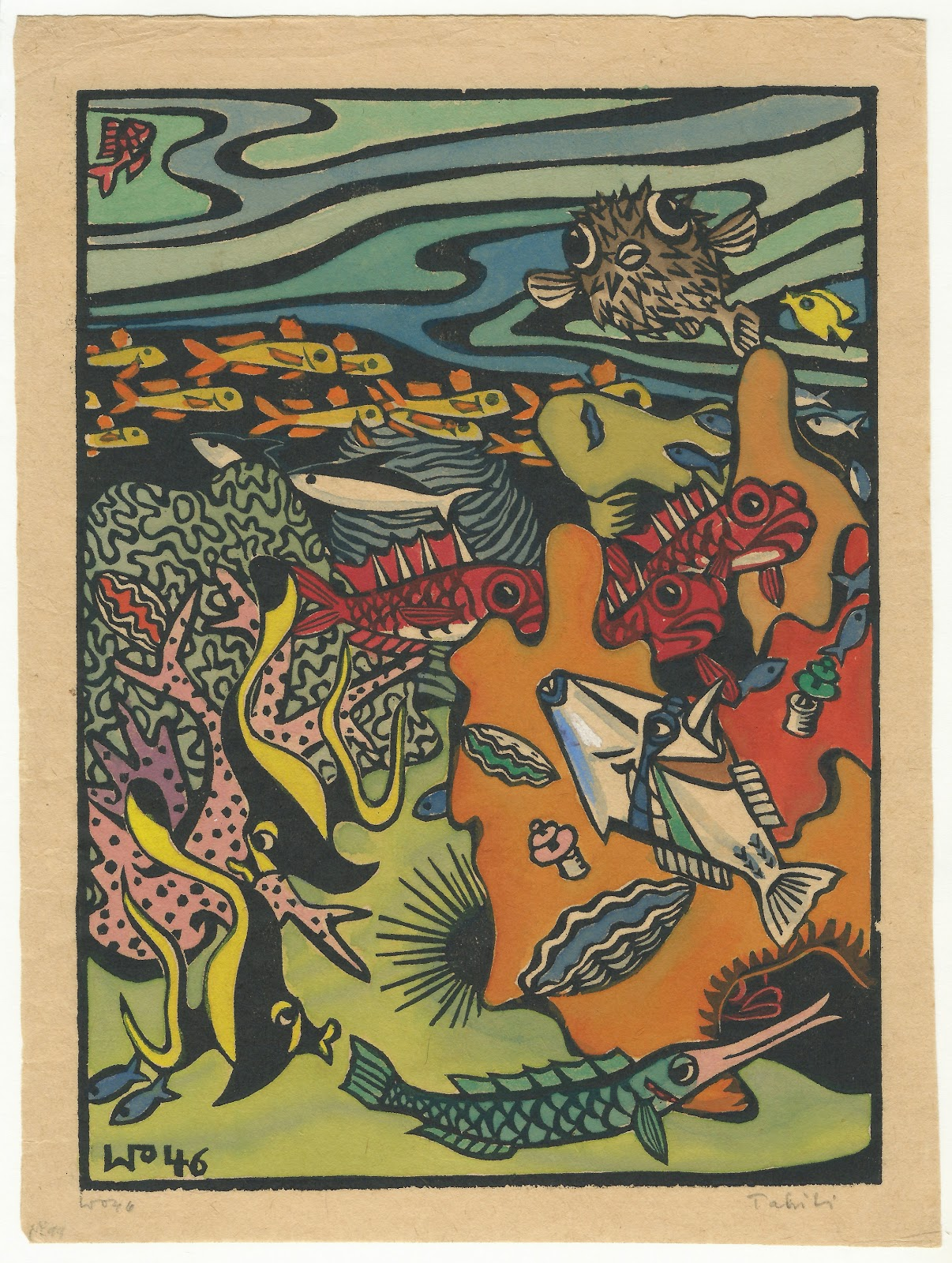 The reef, hand colored block print, 1946, family-owned