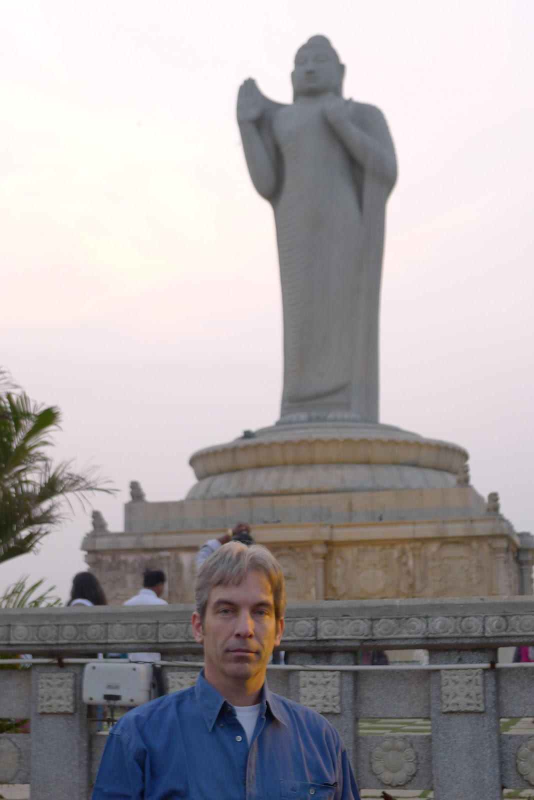 The Buddha in the center of Hyderabad's Hussain Sagar lake (world's tallest monolith of Gautama Buddha)