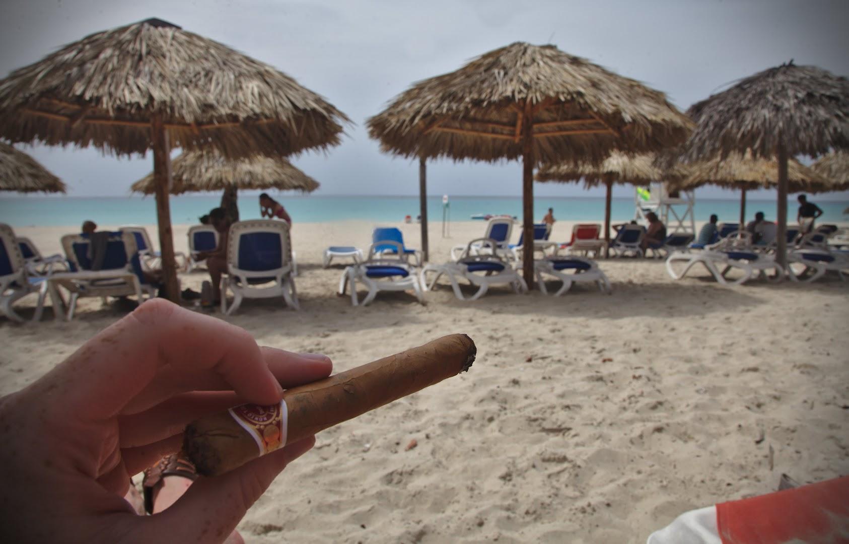 Tasting Monte Cristo cigar with mojito