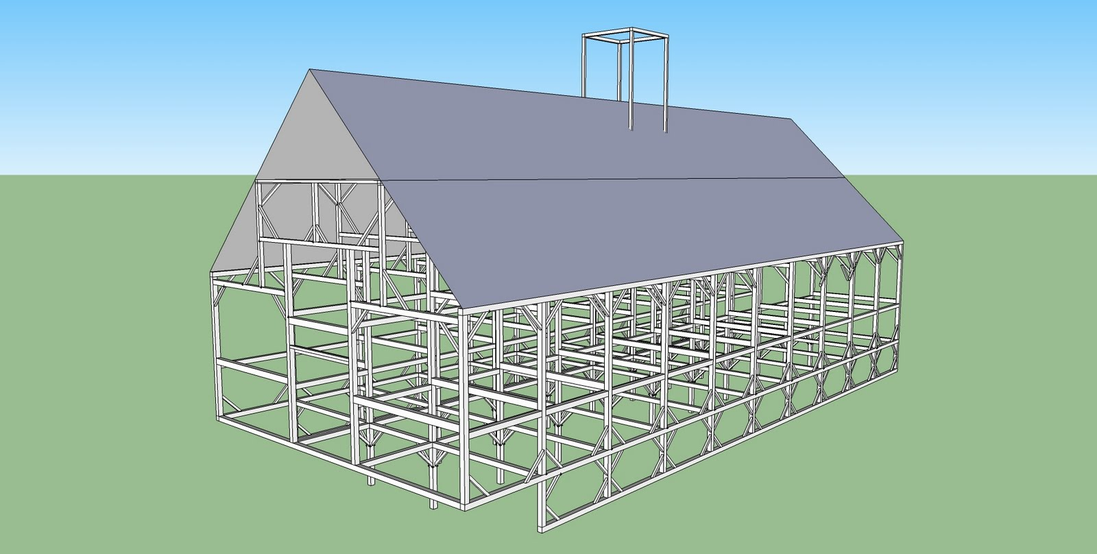 Cabot aisle barn with sheathed roof.