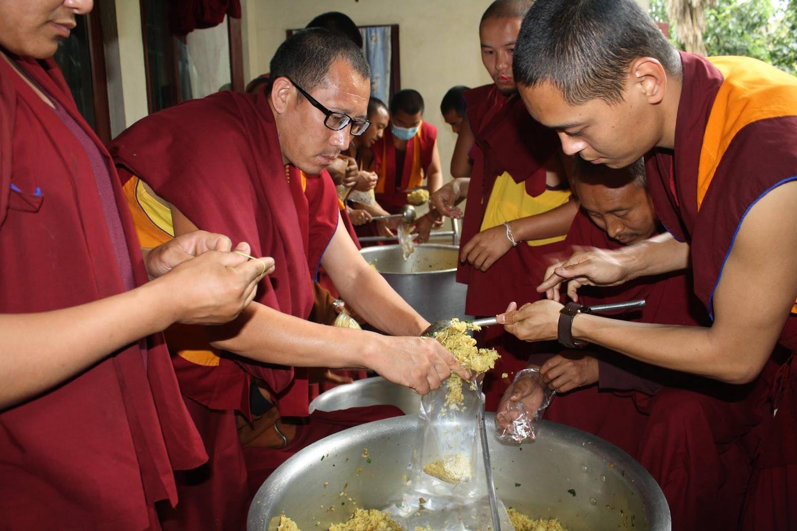 Food aid being prepped at Kopan Monastery.