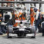 Valterri Bottas, Williams FW35 pitstop departure