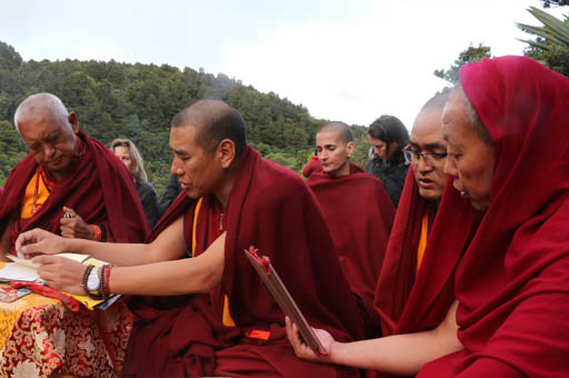 Lama Zopa Rinpoche doing an  puja at Mt. Taranaki on the North Island. Rinpoche has been wanting to do puja here for some years as it is a special place, New Zealand, May 2015. Photo by Ven. Thubten Kunsang.
