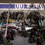 Lewis Hamilton doing a pit stop in his Mercedes W06