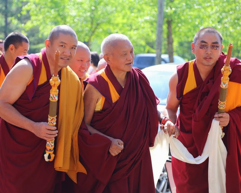 Lama Zopa Rinpoche with Geshe Gelek, Geshe Tenley and Geshe Sangpo, Kadampa Center, Raleigh, North Carolina, US, May 3, 2014. Photo by Ven. Thubten Kunsang.